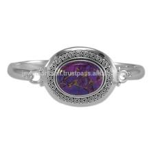 Gemme turquoise au cuivre violet naturel et bracelet en argent massif en argent massif sterling 925