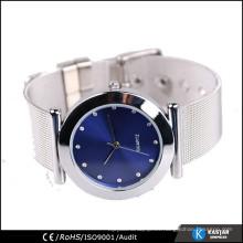 Reloj de malla de acero inoxidable para señoras