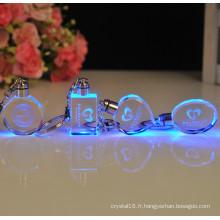Porte-clés à la mode exquise porte-clés en cristal octogonal