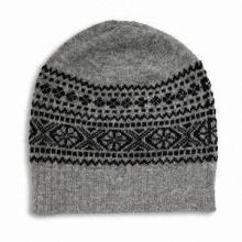 Knitted Hat for Children and Adults, Made of Acrylic and Wool