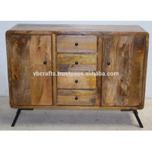 Mango Wooden Art Deco Sideboard Natural Finish Iron Legs