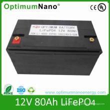 Bateria de 12V 80ah LiFePO4 usada para UPS, poder traseiro