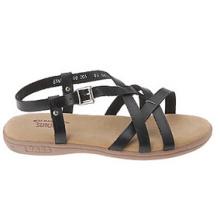 Sandalias Casual de Cuero Negras con Cordones