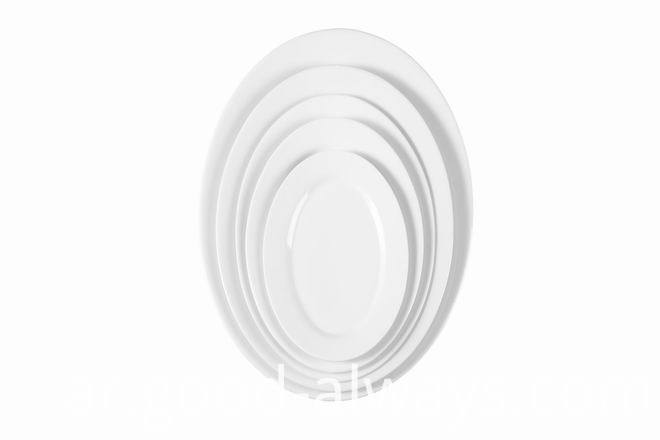 Hotel White Porcelain Oval shape Fish plate
