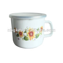 porcelain enamel mug with PP lid and SS rim