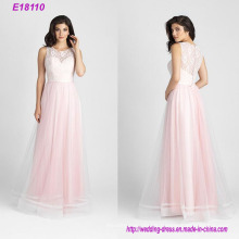 Vestido de dama de honor de gasa rosa moda 2017 mujeres