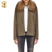 Moda Classic Fur Collar Jackets manga comprida homens ou mulheres Zipper Hooded Sweater Coat