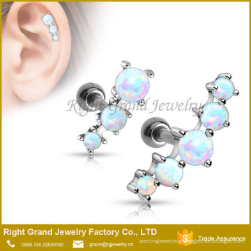 Cinco Opalas Pedra Tragus Ear Cartilage Anéis Piercings Ear Helix Cuff