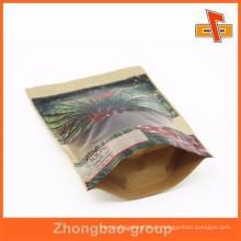 Kundenspezifische, gepaßte Reißverschluss braune Papiertüte für Palmblattverpackung