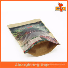 Custom pinted stand up zip bolsa de papel marrón para el embalaje de hojas de palma