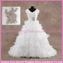 LS6004 Quality wedding dress real photos High alibaba wedding dress ruffled organza real sample bridal luxury wedding dress