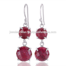 Natural Corundum Gemstone 925 Sterling Silver Earring