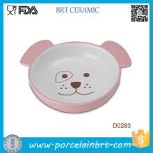 Tigela de animal de estimação comida de alimentação cerâmica pequena forma cão bonito