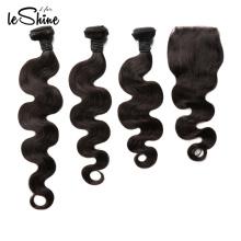 Seidige und weiche brasilianische 8A Häutchen des Großhandelsausgerichtete Jungfrau-Haar-Webart 3 Bündel mit Schließungs-Verkäufern