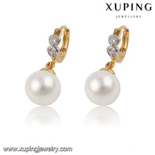 Moda agradable de dos piedras redonda CZ perla joyería pendiente Huggies S 21221
