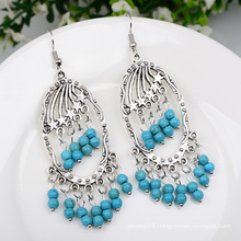 Retro Turquoise Tassel Earrings Bohemian Women Accessories