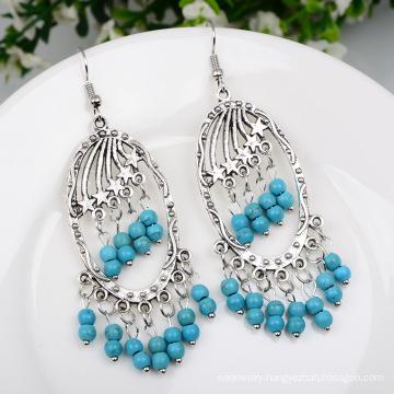Retro Turquoise Tassel Earrings Bohemian Women Accessories