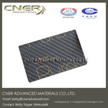Carte de nom en fibre de carbone de finition brillante, produits en fibre de carbone complète du fabricant professionnel de fibre de carbone