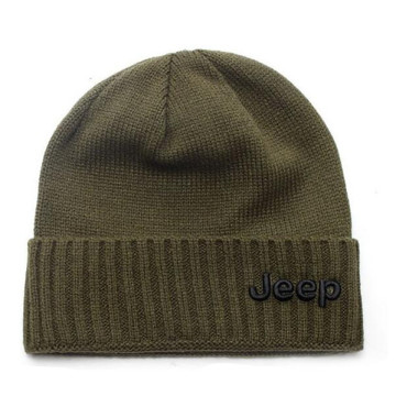 Mens Puff Embroidery Knitted Hat