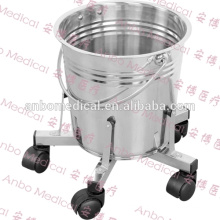 Stainless steel medical kick bucket with five castors