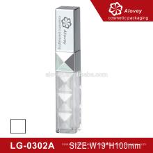Plástico tubo de lápiz labial de plata / paquete de tubo de brillo labial con cepillo