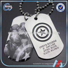 Etiqueta de perro del ejército del metal de la maravilla del capitán América