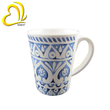 High Quality Tea Cup Plastic Custom Print Melamine Mug With Handle