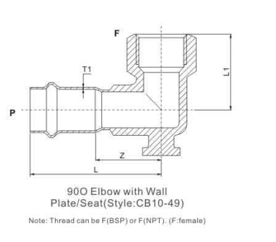 elbow 90 with wall seat