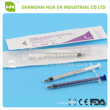 High Quality with CE FDA ISO approved Medical disposable 1ml syringe