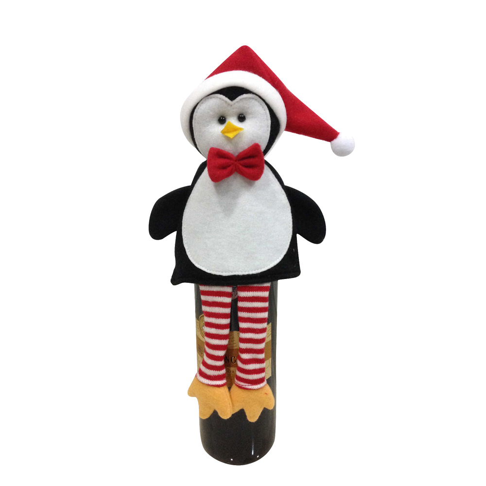 Christmas Penguin Wine Bottle Cover