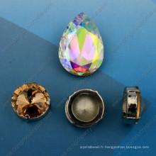 Pierres de fantaisie en cristal avec réglages de griffes