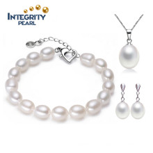 Art- und Weiseschmucksache-Armband und Halsketten-Perlen-Satz 7-8mm Tropfen-natürliches 925 silbernes Haken-Frischwasserperlen-Satz