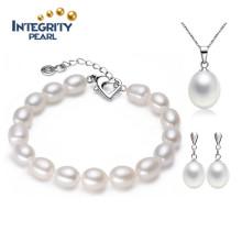 Браслет ювелирных изделий способа и ожерелье перлы установили перевозку груза диаманта перлы 7-8mm естественную 925 серебряную пресноводную