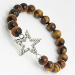 Yellow Tiger eye Gemstone Bracelet with Diamante alloy star Piece