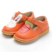 Оранжевая девочка Детская обувь Кролик Морковь T Strap Shoe