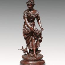 Colección Femenina Escultura de Bronce Farming Woman Decoration Estatua de Bronce TPE-929