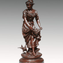Femme Collection Bronze Sculpture Agriculture Femme Décoration En Laiton Statue TPE-929