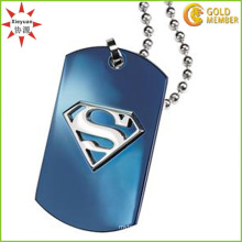 Men′s Blue Plated Necklace Supermen Sign Dog Tag Pendant