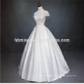Beautiful lace short sleeve organz skirt cheap wholesale modest wedding dress
