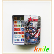 Tema del cartón-American Hero dominó en caja de hojalata