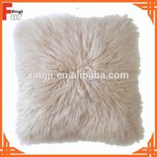 Lammfellkissen Mongolian Fell gefärbt beige Farbe