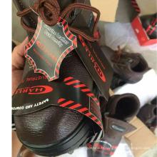 Chaussures de sécurité en cuir pour travailleurs industriels (PU Leather Upper + Rubber Sole)