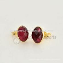 Atacado Best Quality Vermeil Gold Plated Gemstone Bezel Stud Earrings Fornecedores De Jóias E Fabricante