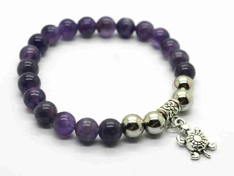Natural Amethyst Bracelet Gemstone Beads jewelry alloy pendants