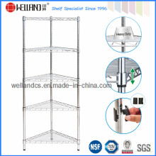 Metal Chrome Bathroom Corner Wire Rack with Fan-Shaped Style (CR3030120C5C)