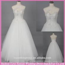 WD6028 Qualidade tela pesada qualidade de exportação artesanal abertura de costas lombar especial aplicada um vestido de casamento de ombro