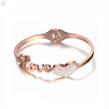Stainless Steel 18K Rose Gold Love Knot Heart Crystal Bangle Bracelet
