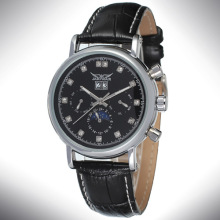 Leather Band Mens Automatic Tourbillon Date Watch