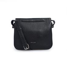Black Leather Crossbody Bag Purse With Zipper Pocket