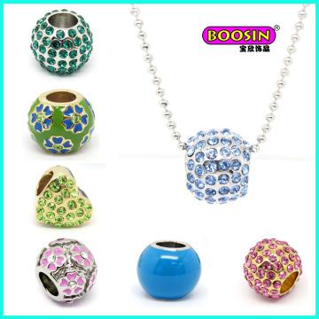 Vente en gros Collier pendentif perle de cristal coloré en alliage de mode personnalisé Jewelley